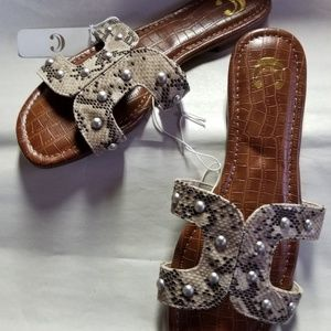 Charming Charlie Sandals, Brown w Reptilian Straps